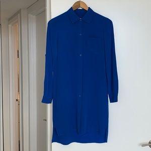 Long Sleeve Blue Button Up Dress DVF